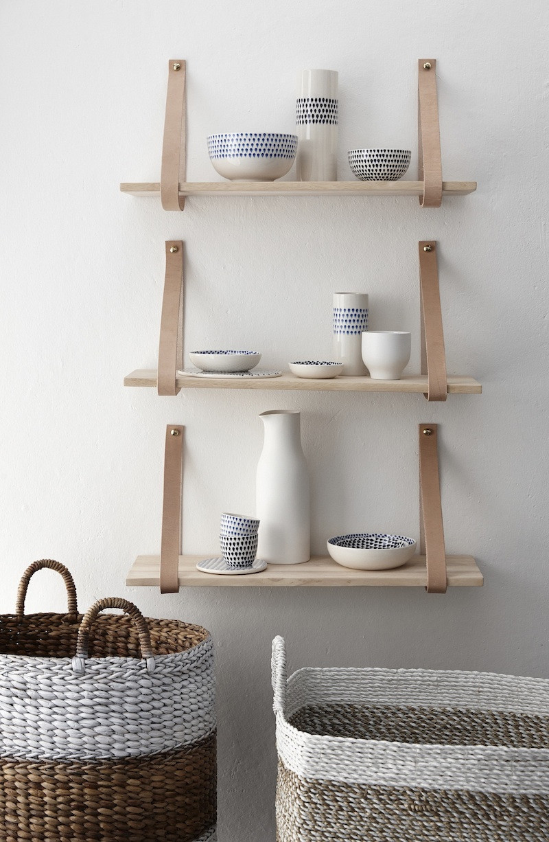 Wood and leather support shelves